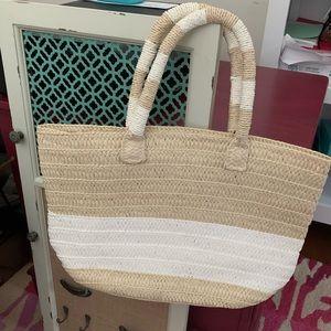 Tan & White Stripe Altru Straw Lrg Bag/ Small Tote